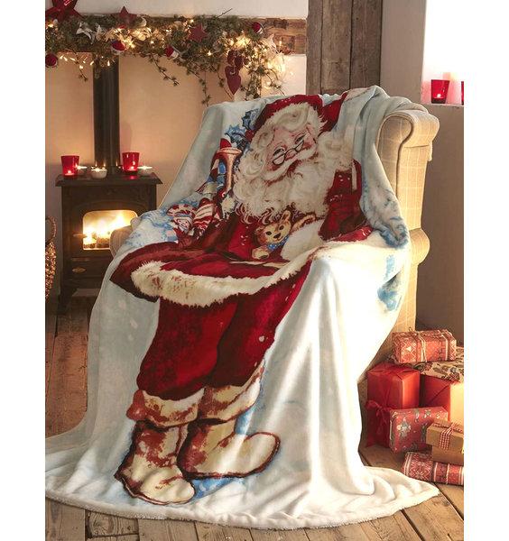 Jolly Santa/ Father Christmas Fleece Blanket