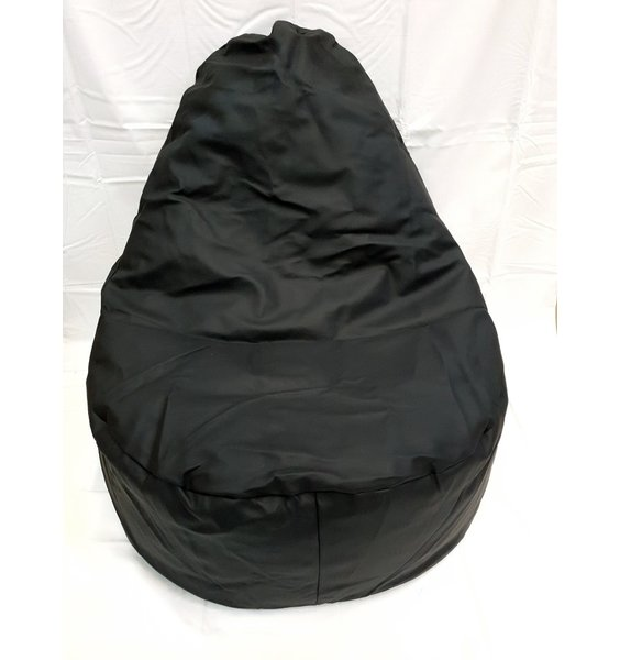 Adult Sized Large Faux Leather Slouch Bean Chair - Black