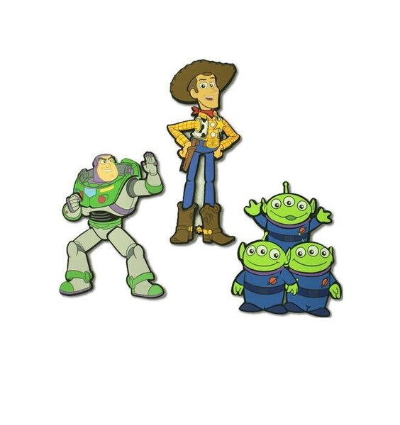 3, Toy Story Foam Wall Stickers. Woody,  Buzz and the 3, Green Aliens