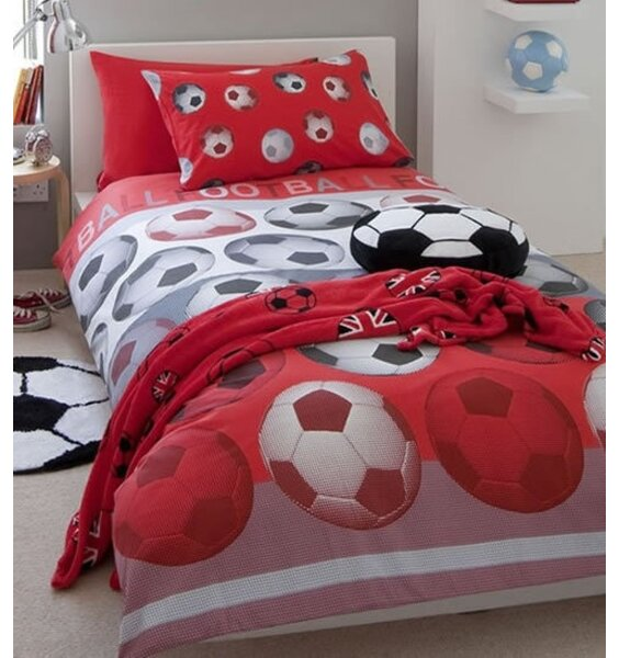 Catherine Lansfield Football Double Duvet Set Red