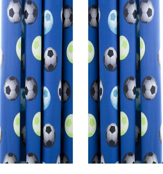 Catherine Lansfield Football Curtains 66 x 72 inch Blue
