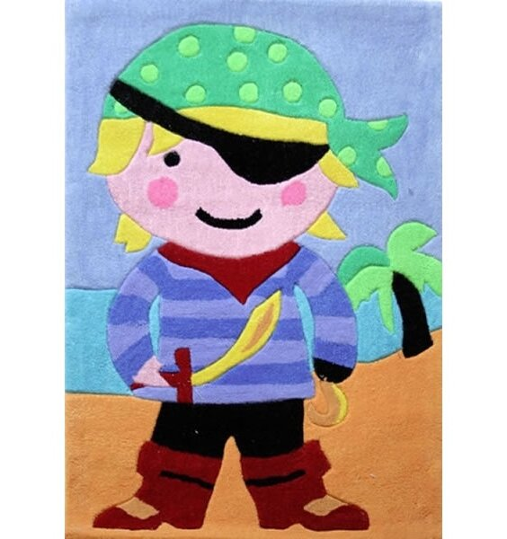 Luxury, Tufted Pirate Bedroom Rug. Colourful Pirate on a blue and yellow background