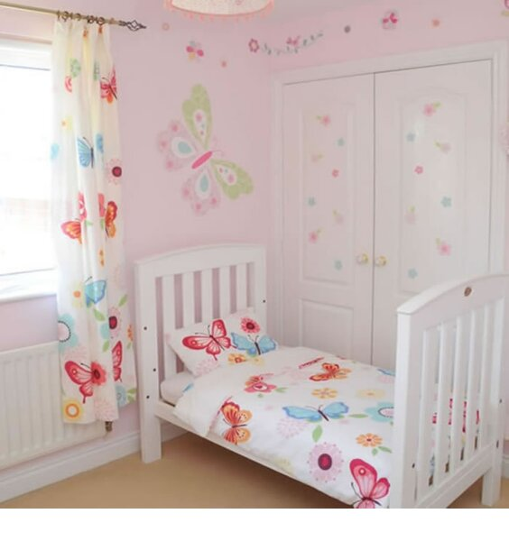 Butterfly, White Toddler Bedding Set. Blue, Pink And