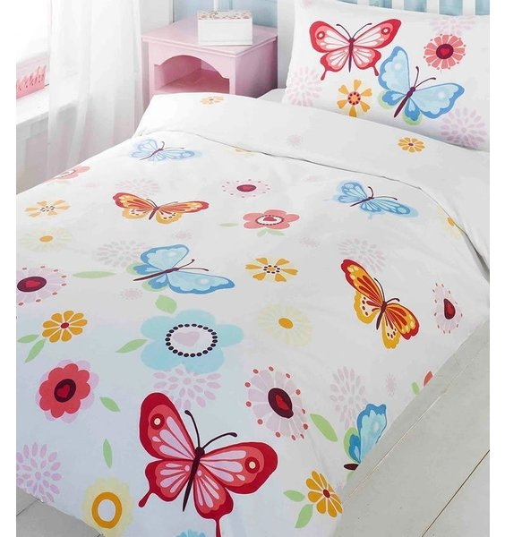 Crisp white background patterned with colourful butterflies and flowers.