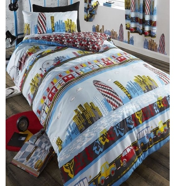 Colourful depiction of London skyline, tube and taxis against a blue background - single Bedding Set
