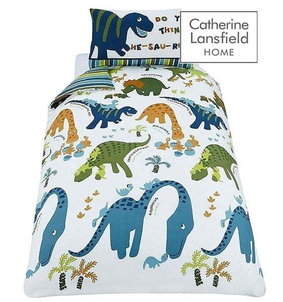 Dinosaur themed duvet set. Blue & Green Cute, Friendly Dinosuars with baby Dinos. Striped Reverse