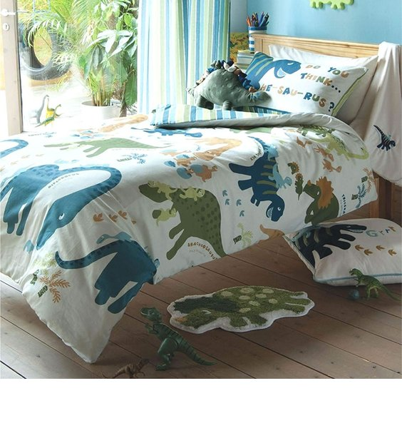 Dinosaur Single Duvet Cover Set Complete With Coordinating