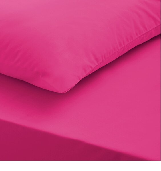 Single Fitted Sheet and Pillowcase - Hot Pink