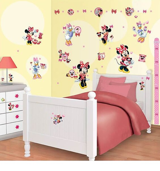 Minnie Mouse 79 Bedroom Stickers inc Height Chart