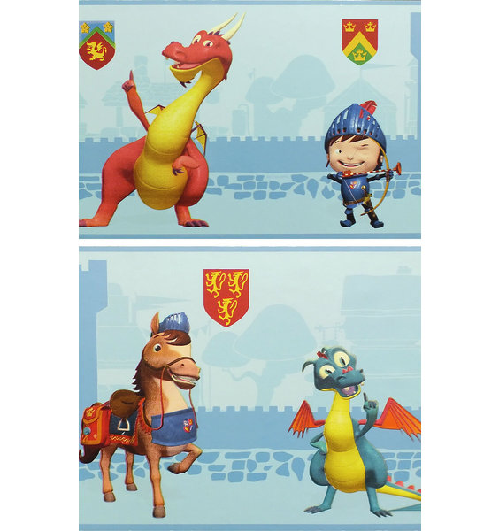 Blue, 5 metre long, self adhestive wallpaper border featuring Mike the Knight, his horse and a couple of friendly dragons.