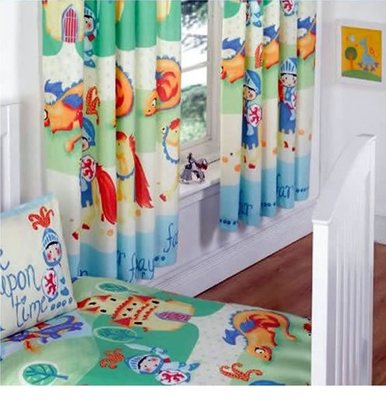 Camelot Nursery Curtains with  Dragons and Knights.