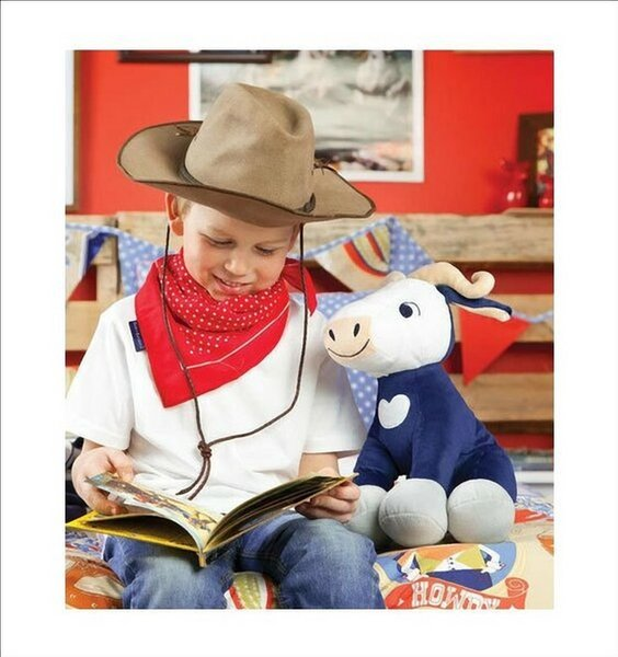 Cuddly, Billy Bull Shaped Cushion / Toy. Cute Bull in Blue and Grey.