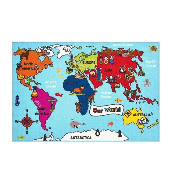 World Map Rug 100 x 150 cm