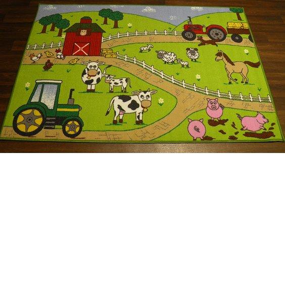 Farm, Large Green Play Mat  100 x 150 cm