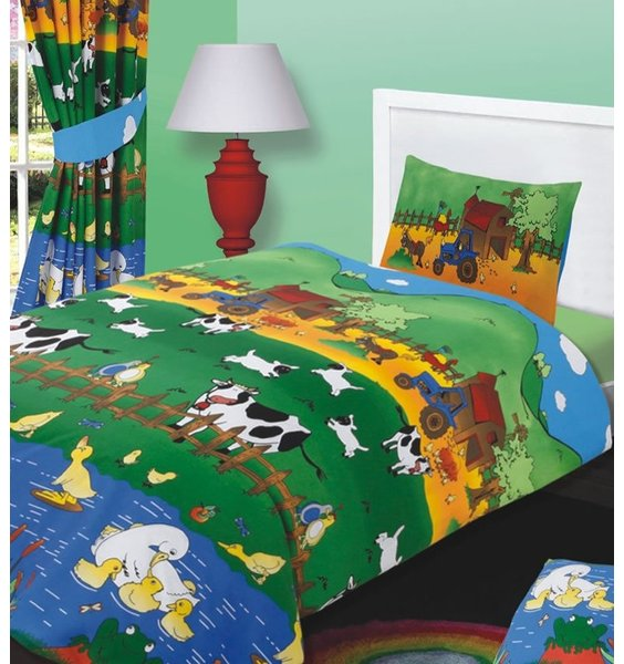 Colourful Life On the Farm Duvet - Tractors, Ducks, Cows, Chicken enjoying a lovely summers day.