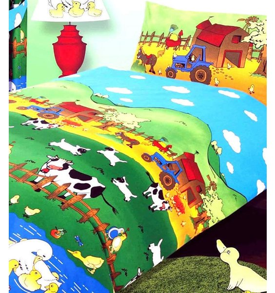 Colourful, working farm themed duvet cover. Sheep, Cows, Tractors, Orchards and Barns,