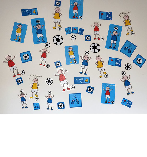 44, Children's, Football inspired Wall Stickers with Stick Footballers, Footballs and Flags