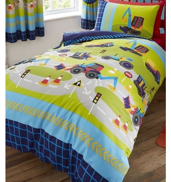 Boys Diggers Bedding Set. Blue & Green with diggers, bulldozers and cranes. Reversible
