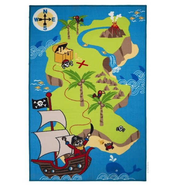 Pirate Treasure Map Rug: Boys, Fun Pirate Themed Play Mat