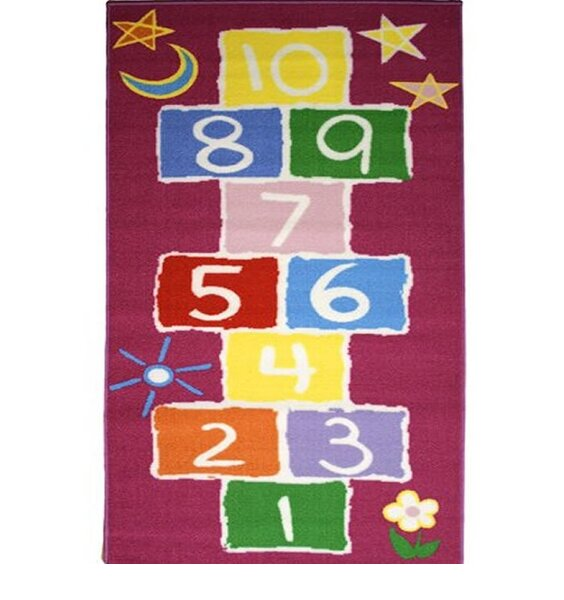 large, red, rectangular rug patterned with the hopscotch game