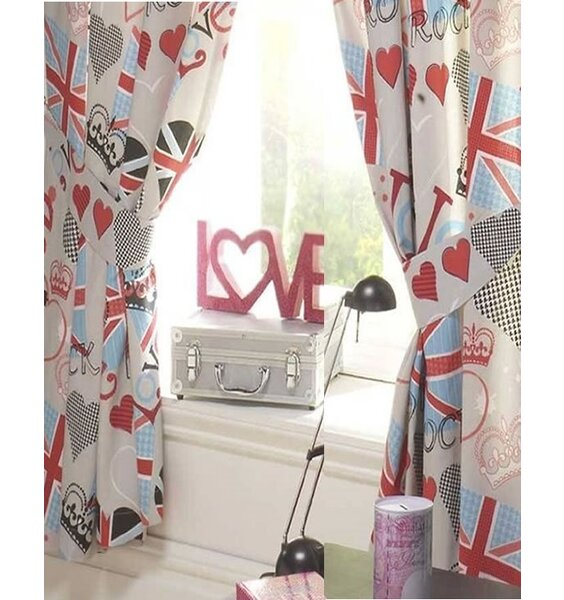 Red, White and Blue Union Jack Themed Curtains with a Love Heart Pattern.