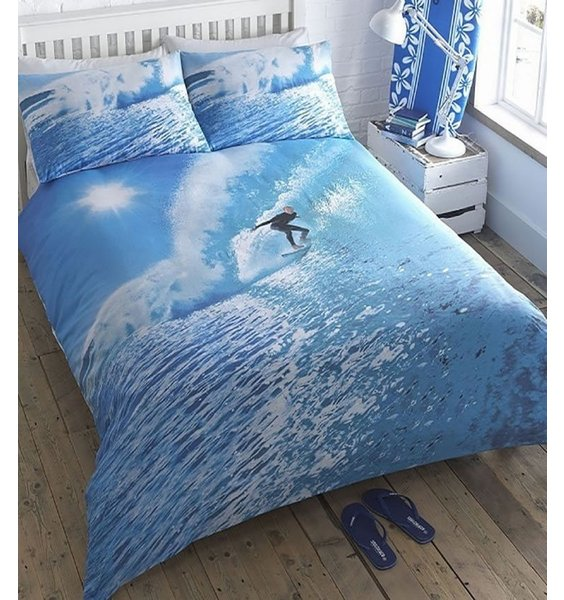 Brilliant Blue Ocean Bedding with a Lone Surfer riding the waves. Photographic Quality Bedding