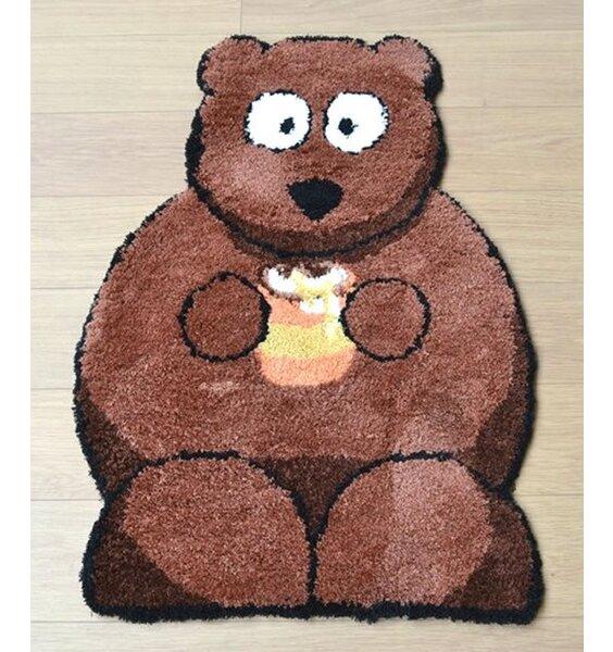 Bear Shaped Nursery Rug. Cute Bertie Bear Brown and Cream