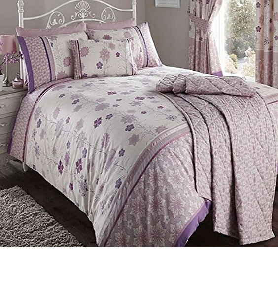 Mauve and White, Floral Themed Single Bedding Set