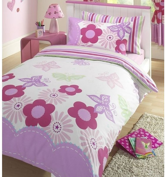 King Size Duvet Cover. White with pastel butterfly & floral pattern. Reverse is a candy stripe pattern.