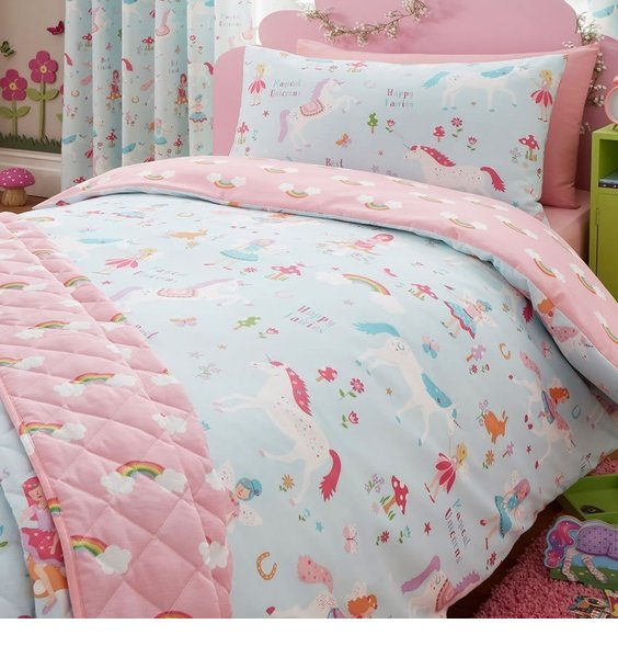 Reverisible Pink and Sky Blue with unicorns, fairies, rabbits & toadstools. Pink side has a rainbow pattern.