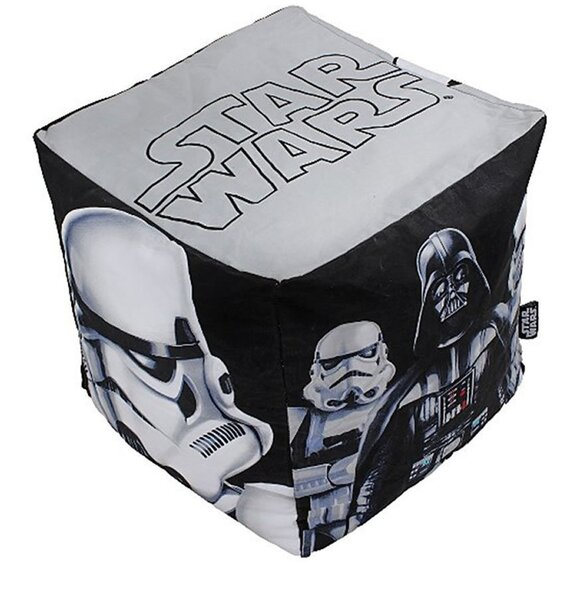 Black and White Star Wars themed beanbag featuring Darthe Vader and his Stormtroopers.