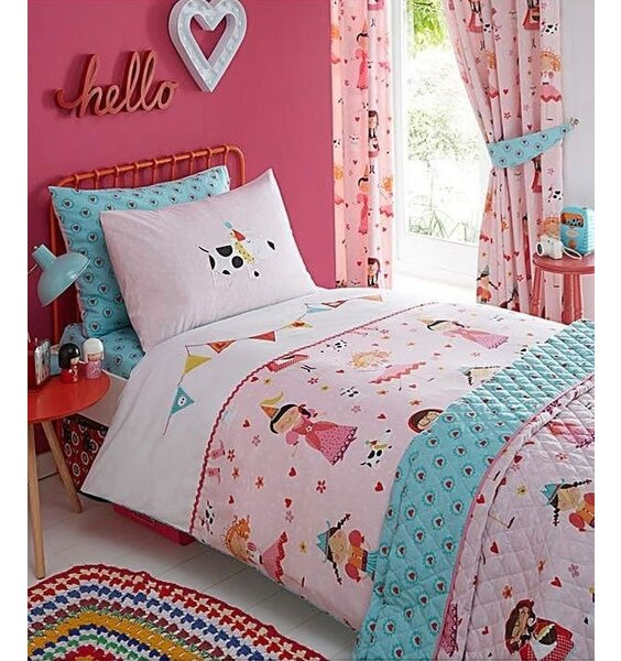 Girls, Beautiful Embroidered, Pink and White Princess Themed Bedding.