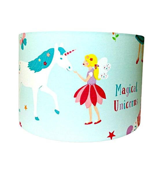 Magical Unicorn Large Fabric Light Shade - Blue