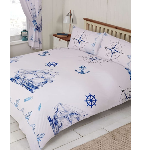Crisp white background with sailing boats with full sales billowing. Anchors, ships wheels and ropes complete the look.