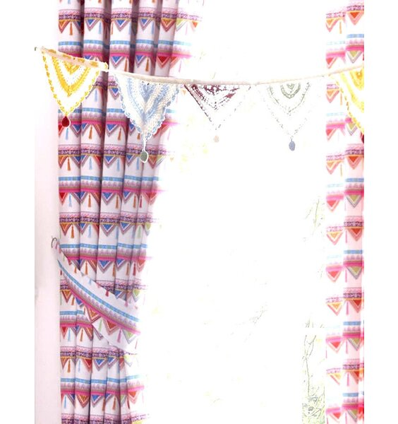 Pink and White Carnival Bunting Patterned Curtains