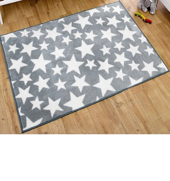 Grey With White Star Rug 100 X 150 Cm
