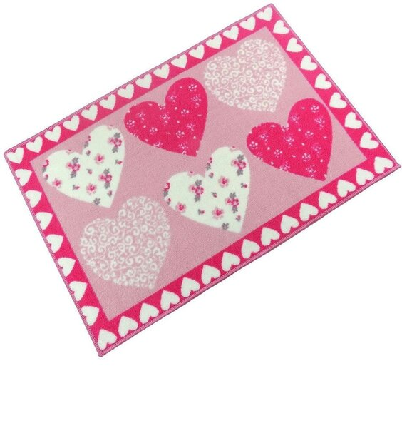 Pink Hearts Bedside Rugs 60 x 90 cm