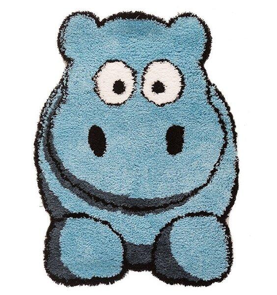 Cute Blue Hippo Shaped Nursery Rug.
