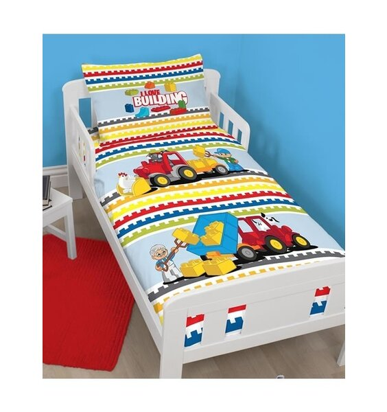 Lego Duplo Toddler Bed Set. Primary colours on a white background with Lego men, animals, tractor and truck