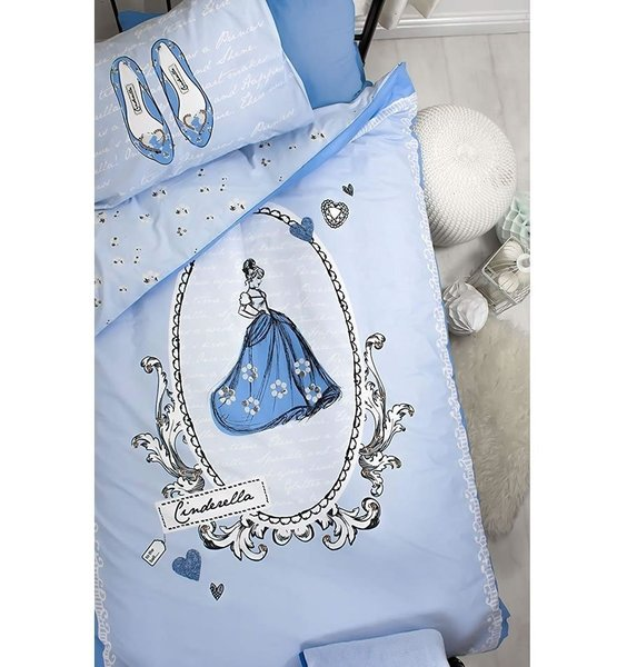 Sky Blue Bed Set, with Cinderella in a cameo design. The pillow showcases the glass slippers.