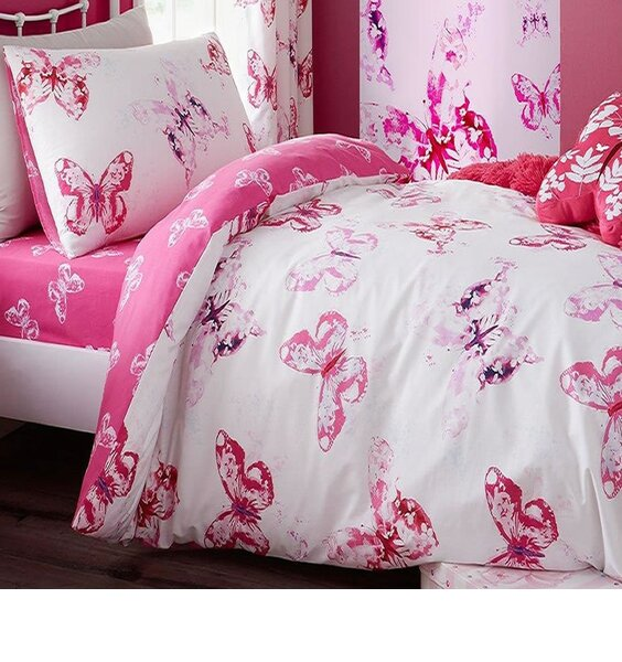 Catherine Lansfield Butterfly Double Duvet Set Pink