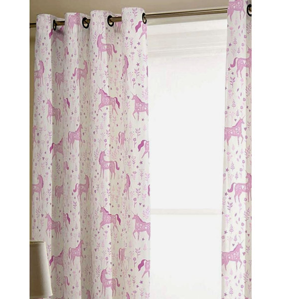 White, eyelet curtains patterned with pink horses  and pink foliage.