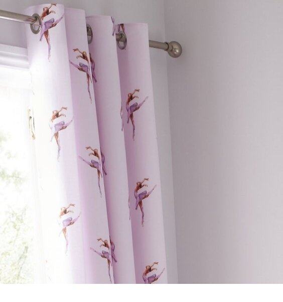 Catherine Lansfield Ballerina, Pink Eyelet Curtains 66 x 72-Inch