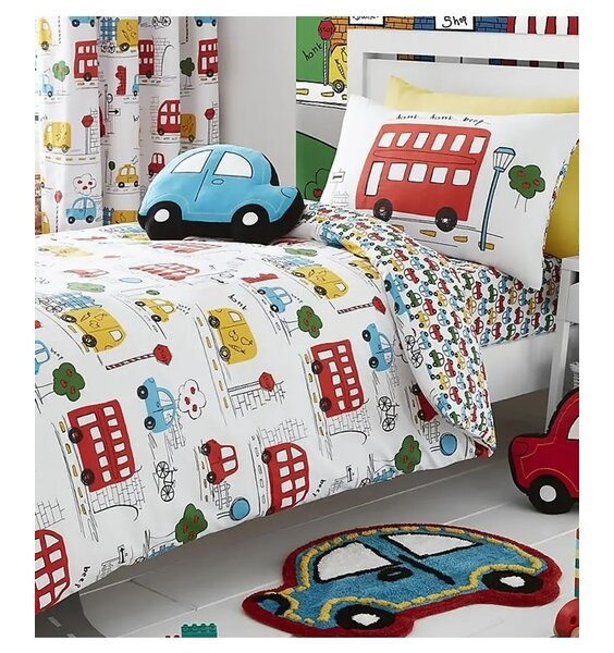 White Duvet Cover Set with a Bright Pattern of Cars, Vans, Buses and Bikes. The Reverse has a smaller car pattern