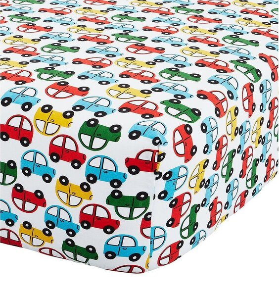 White fitted sheet patterned with colourful, red, yellow, blue and green bubble type cars.