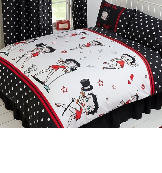 Black with white polka dot pattern. Betty Boop in Iconic Poses on a white background edged with red.