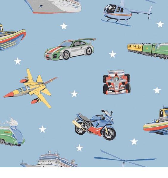 Zoom Away, Boys Transport Wallpaper - Blue