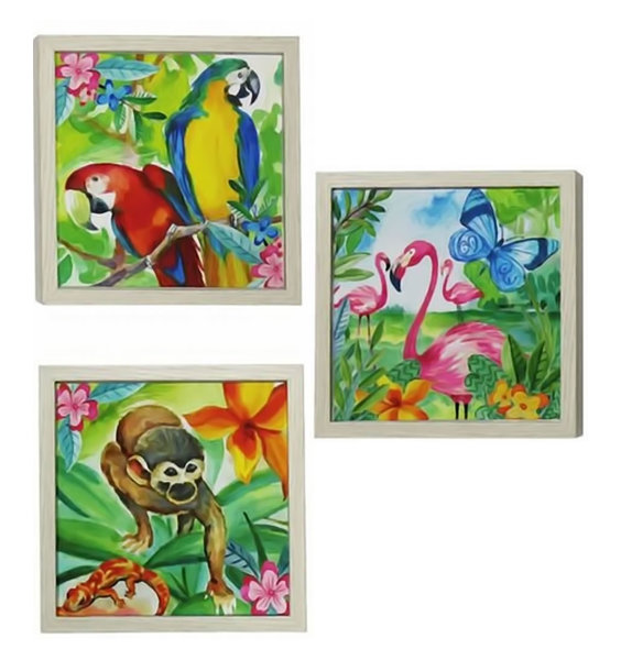 Set of 3 Jungle Canvas Art - monkey, parrots and flamingoes.