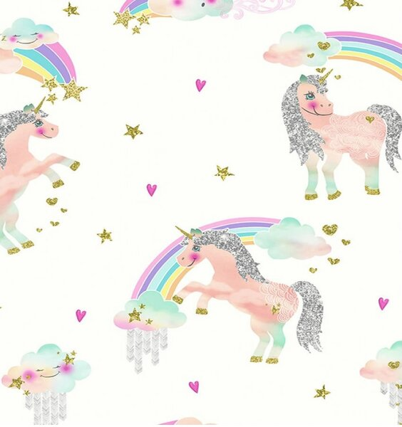 Rainbow Unicorn Wallpaper - White
