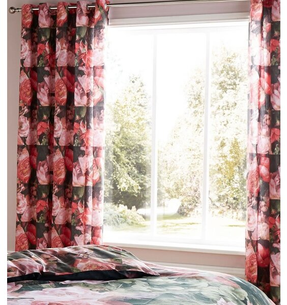 Pink and Dark Grey Rose, Floral Themed Curtains